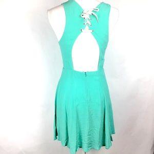 Pins and Needles Aqua Dress Open Back Lace Up Sz S